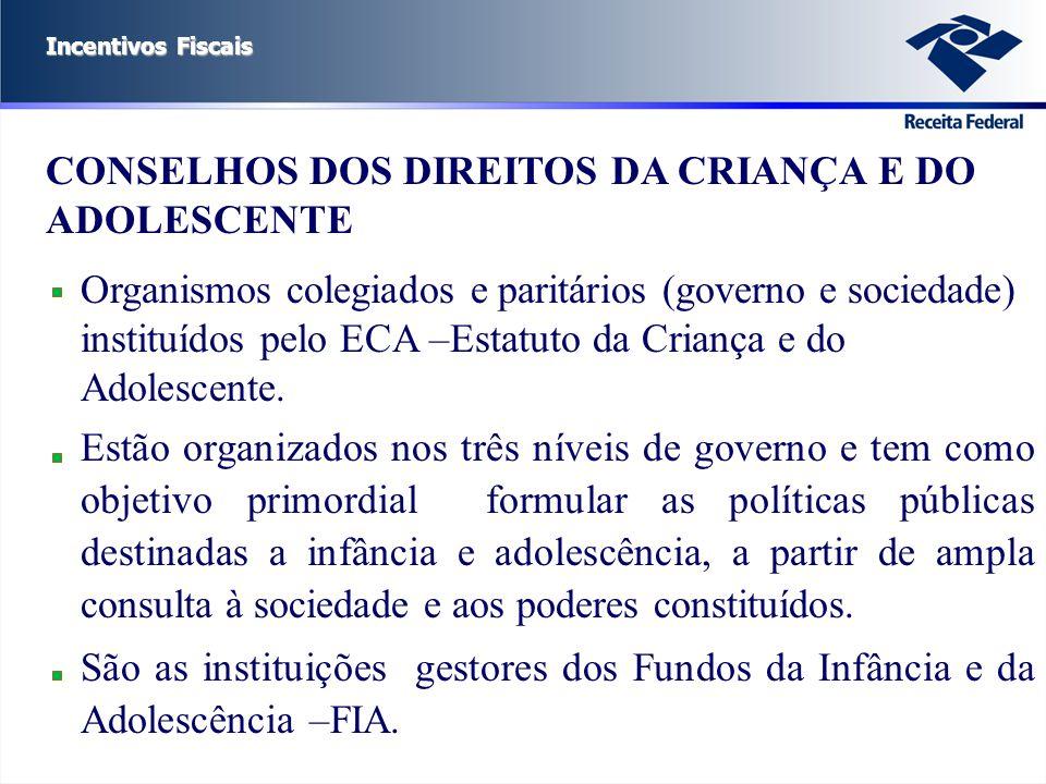 Incentivos Fiscais CONSELHOS DOS DIREITOS DA CRIANÇA E DO ADOLESCENTE Organismos colegiados e paritários (governo e sociedade) instituídos pelo ECA –E