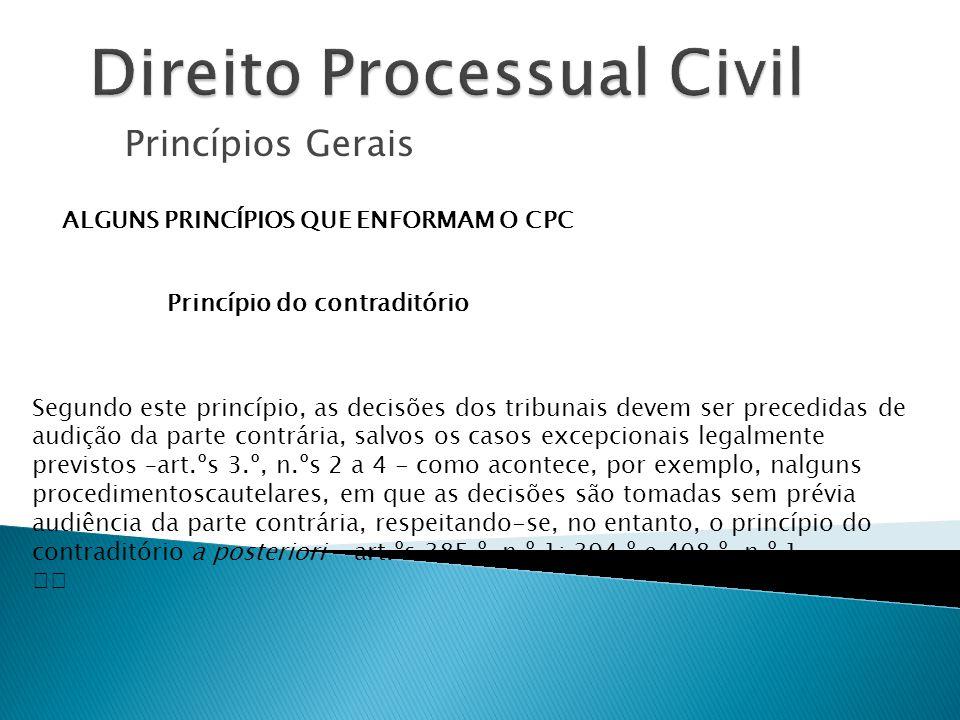 Princípios Gerais ALGUNS PRINCÍPIOS QUE ENFORMAM O CPC Princípio do contraditório Segundo este princípio, as decisões dos tribunais devem ser precedid