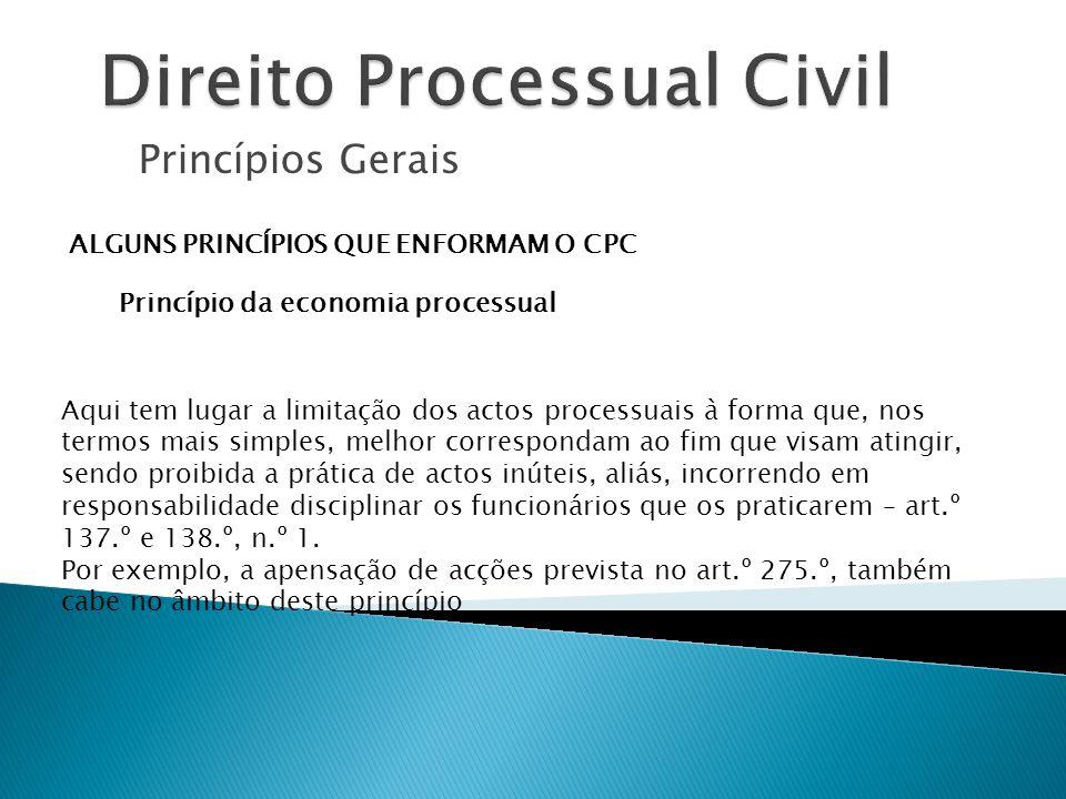 Princípios Gerais ALGUNS PRINCÍPIOS QUE ENFORMAM O CPC Princípio da economia processual Aqui tem lugar a limitação dos actos processuais à forma que,