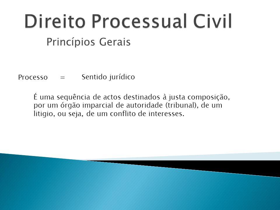 Princípios Gerais Processo É uma sequência de actos destinados à justa composição, por um órgão imparcial de autoridade (tribunal), de um litigio, ou