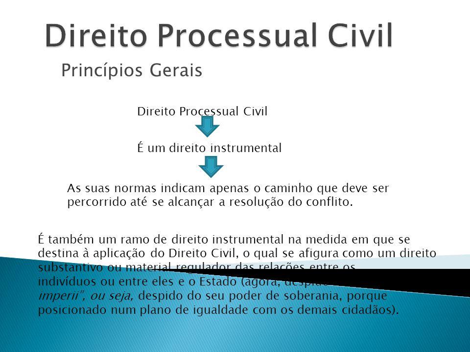 Princípios Gerais Direito Processual Civil É também um ramo de direito instrumental na medida em que se destina à aplicação do Direito Civil, o qual s