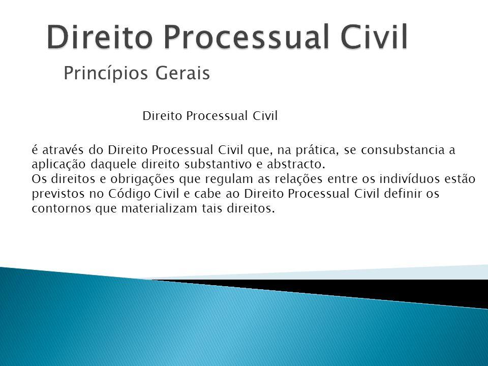 Princípios Gerais Direito Processual Civil é através do Direito Processual Civil que, na prática, se consubstancia a aplicação daquele direito substan