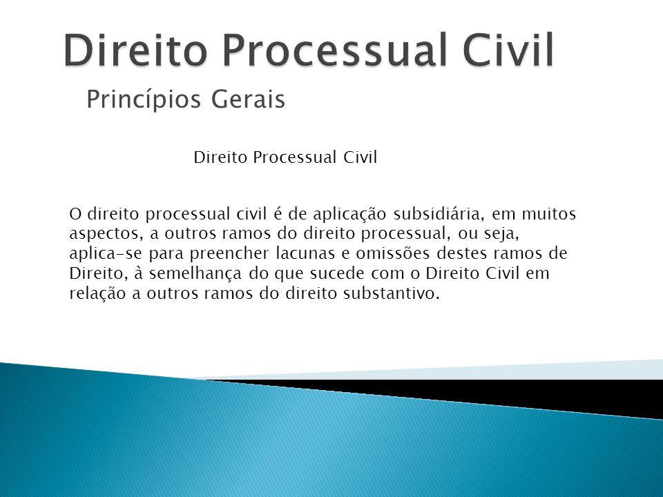 Princípios Gerais Direito Processual Civil O direito processual civil é de aplicação subsidiária, em muitos aspectos, a outros ramos do direito proces