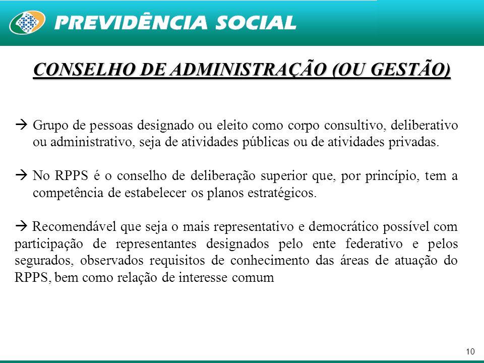 10 CONSELHO DE ADMINISTRAÇÃO (OU GESTÃO)  Grupo de pessoas designado ou eleito como corpo consultivo, deliberativo ou administrativo, seja de ativida