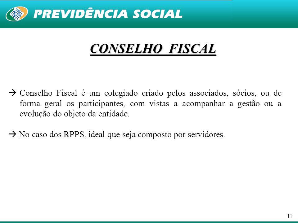 11 CONSELHO FISCAL  Conselho Fiscal é um colegiado criado pelos associados, sócios, ou de forma geral os participantes, com vistas a acompanhar a ges