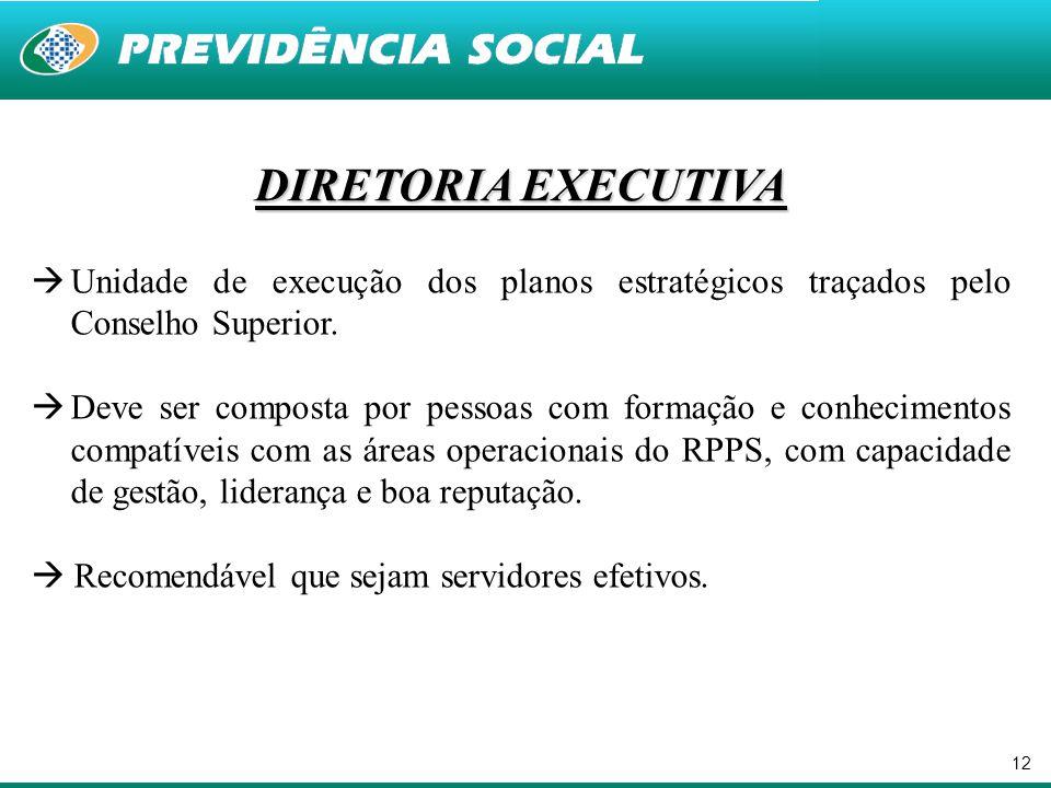 12 DIRETORIA EXECUTIVA  Unidade de execução dos planos estratégicos traçados pelo Conselho Superior.  Deve ser composta por pessoas com formação e c