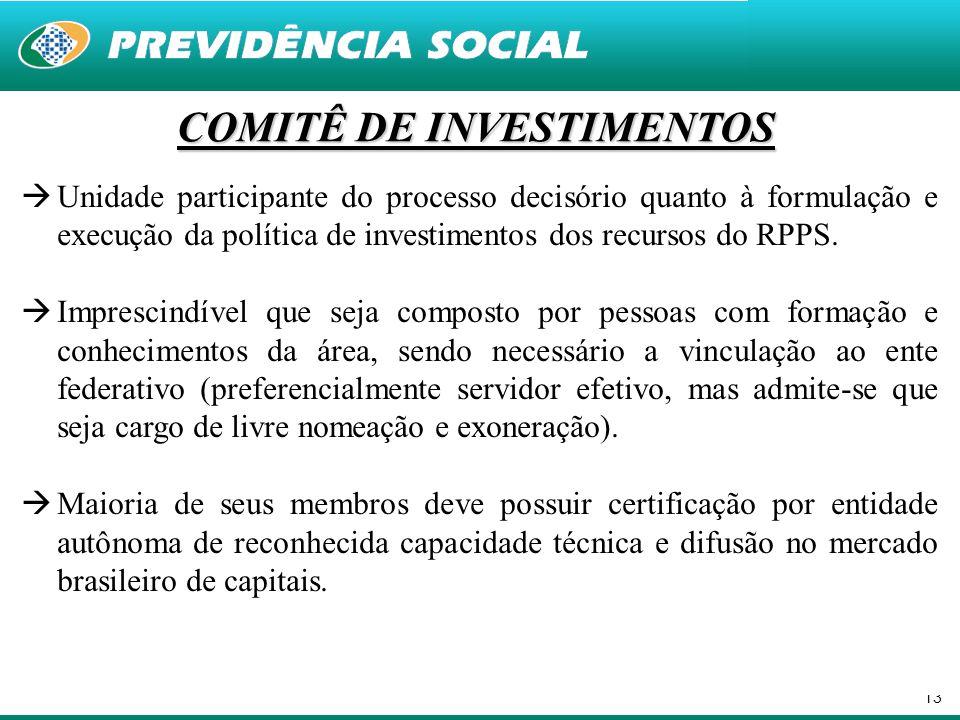 13 COMITÊ DE INVESTIMENTOS  Unidade participante do processo decisório quanto à formulação e execução da política de investimentos dos recursos do RP