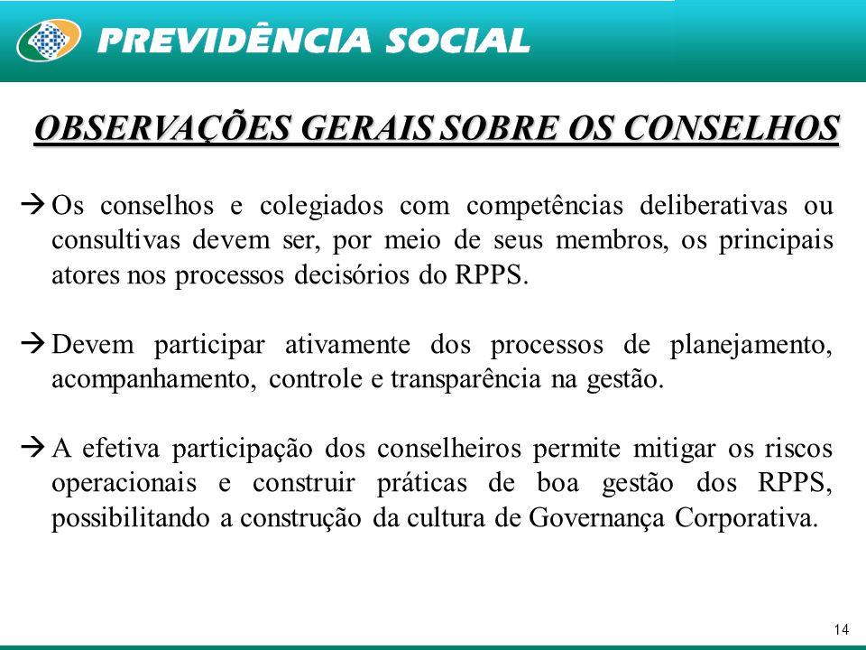 14 OBSERVAÇÕES GERAIS SOBRE OS CONSELHOS  Os conselhos e colegiados com competências deliberativas ou consultivas devem ser, por meio de seus membros