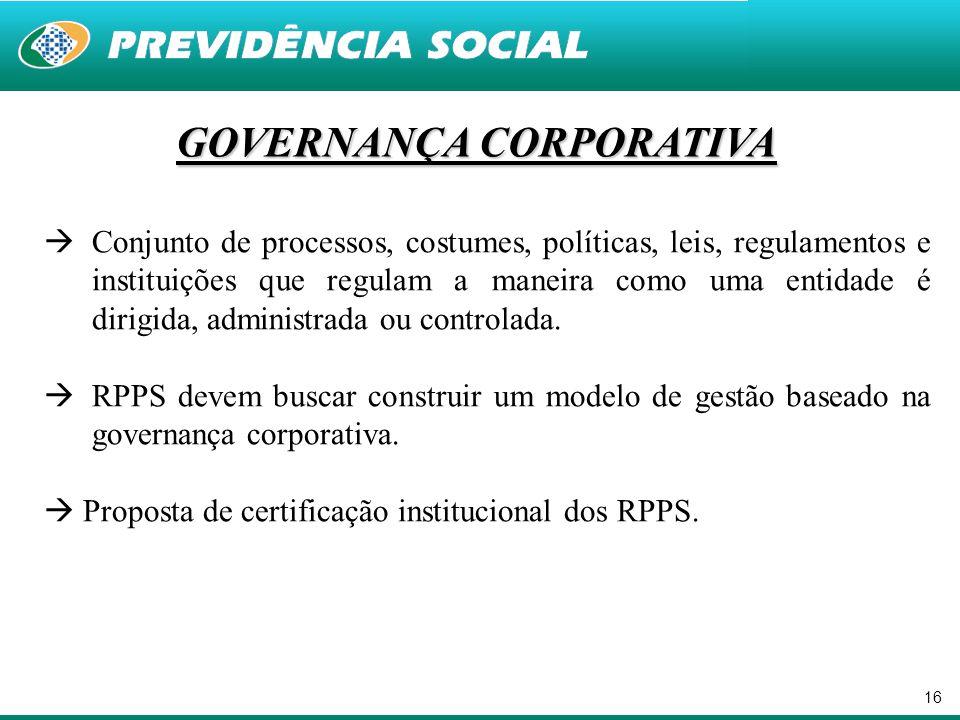16 GOVERNANÇA CORPORATIVA  Conjunto de processos, costumes, políticas, leis, regulamentos e instituições que regulam a maneira como uma entidade é di