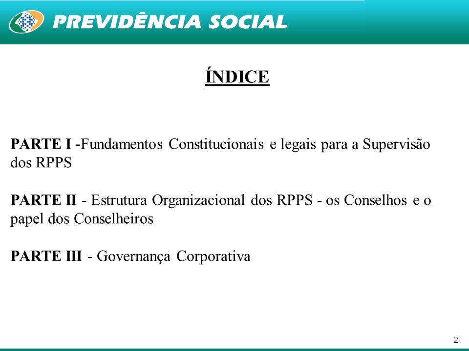 2 ÍNDICE PARTE I -Fundamentos Constitucionais e legais para a Supervisão dos RPPS PARTE II - Estrutura Organizacional dos RPPS - os Conselhos e o pape