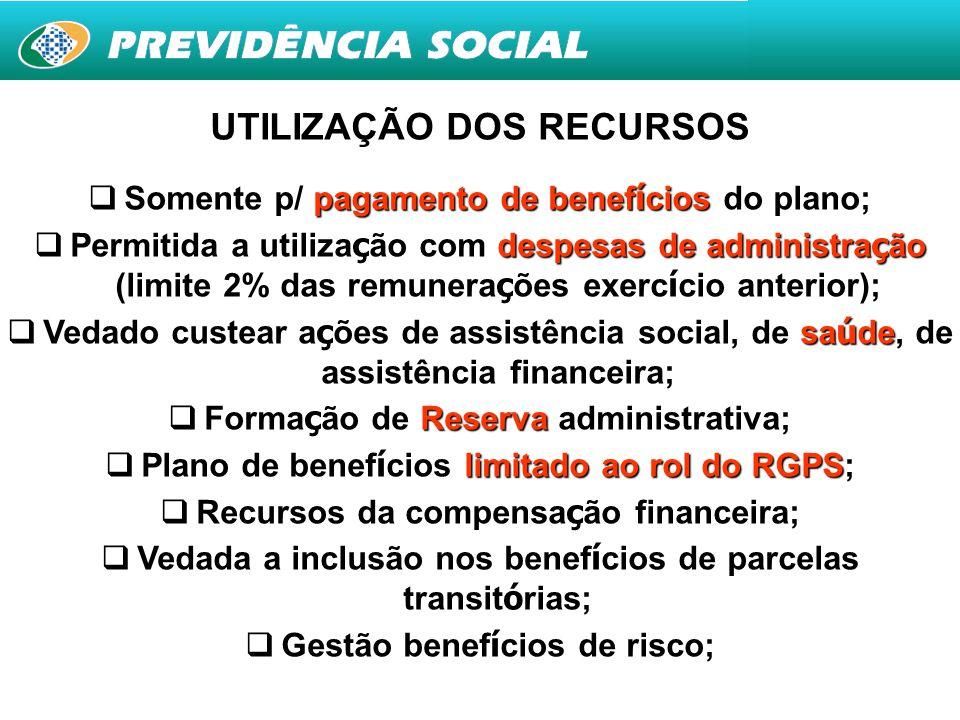 25 UTILIZAÇÃO DOS RECURSOS  Somente p/ pagamento de benef í cios do plano;  Permitida a utiliza ç ão com despesas de administra ç ão (limite 2% das