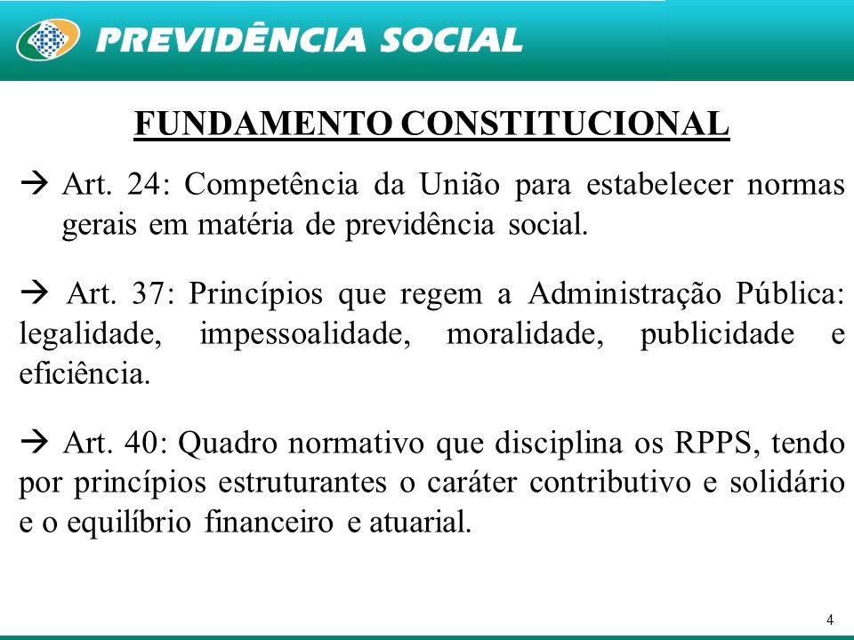 4 FUNDAMENTO CONSTITUCIONAL  Art. 24: Competência da União para estabelecer normas gerais em matéria de previdência social.  Art. 37: Princípios que
