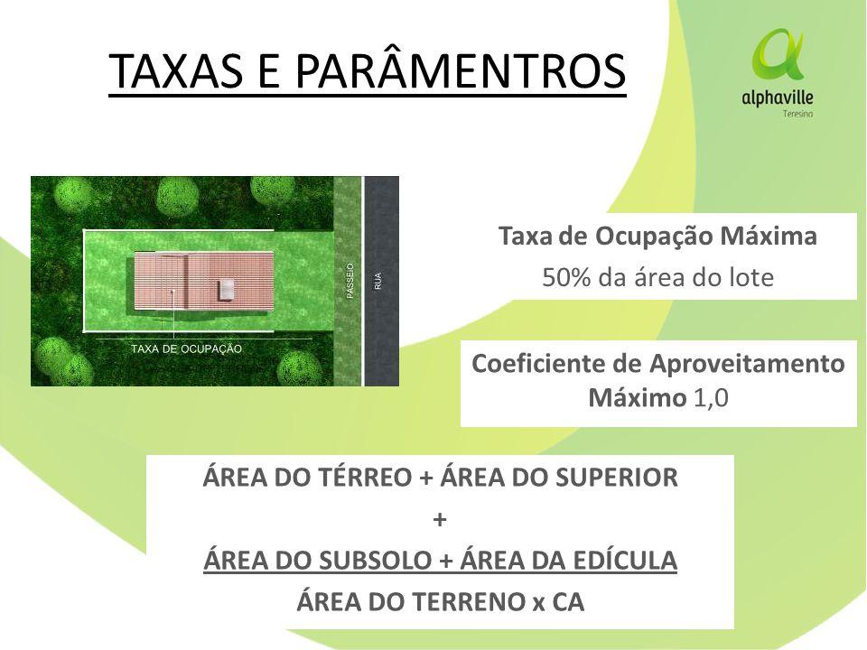 TAXAS E PARÂMENTROS Taxa de Ocupação Máxima 50% da área do lote Coeficiente de Aproveitamento Máximo 1,0 ÁREA DO TÉRREO + ÁREA DO SUPERIOR + ÁREA DO SUBSOLO + ÁREA DA EDÍCULA ÁREA DO TERRENO x CA