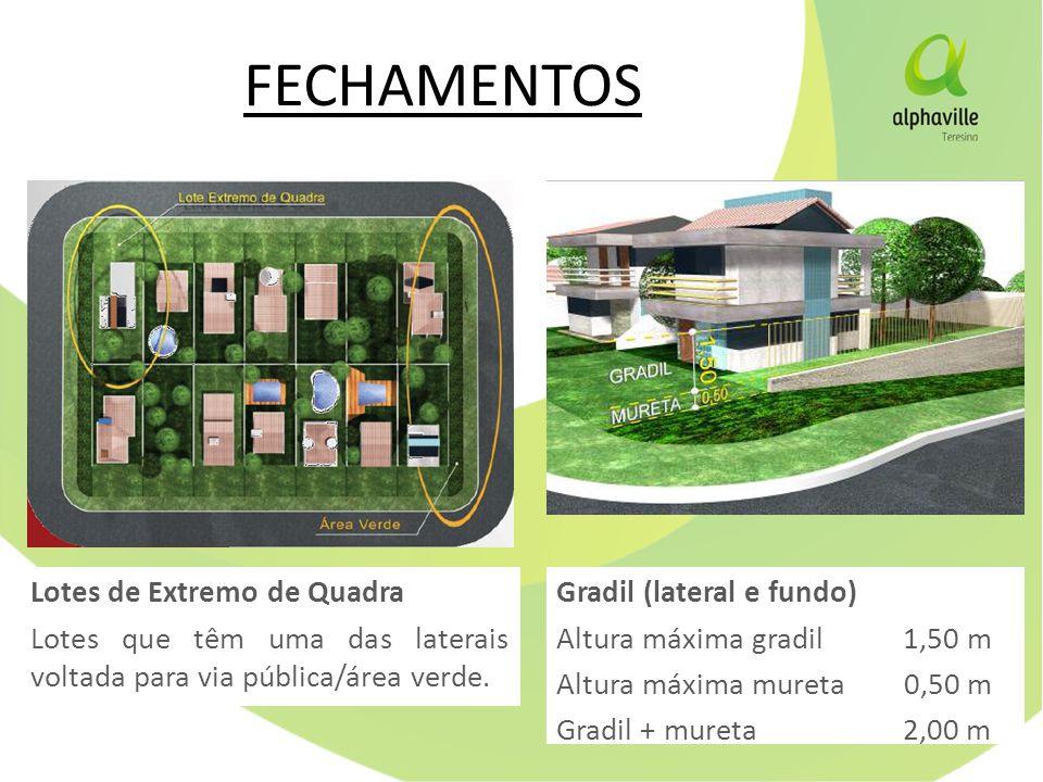FECHAMENTOS Lotes de Extremo de Quadra Lotes que têm uma das laterais voltada para via pública/área verde.
