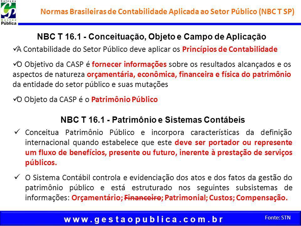 w w w. g e s t a o p u b l i c a. c o m. b r Fonte: STN NBC T 16.1 - Conceituação, Objeto e Campo de Aplicação A Contabilidade do Setor Público deve a