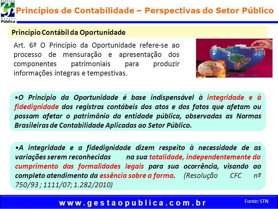 w w w. g e s t a o p u b l i c a. c o m. b r Fonte: STN Princípio Contábil da Oportunidade Princípios de Contabilidade – Perspectivas do Setor Público