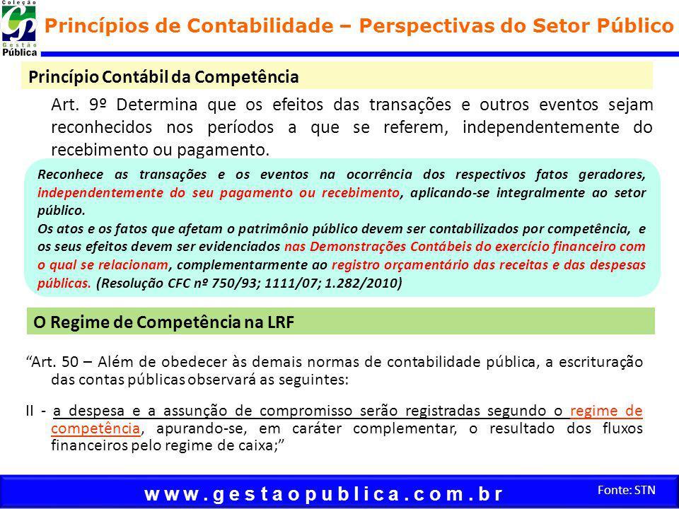 w w w. g e s t a o p u b l i c a. c o m. b r Fonte: STN Princípio Contábil da Competência Art.