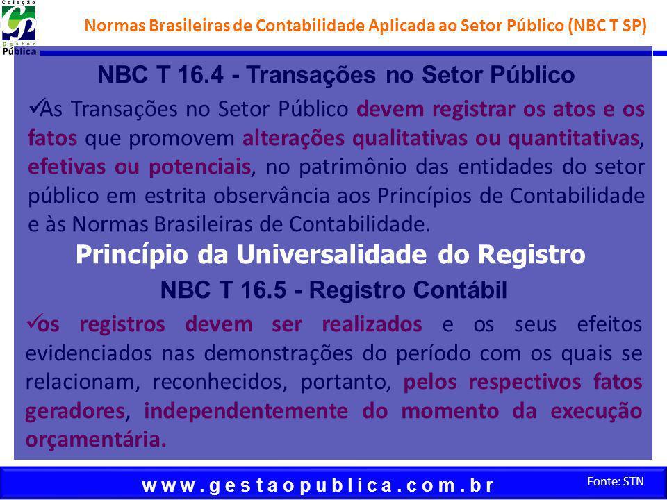 w w w. g e s t a o p u b l i c a. c o m. b r Fonte: STN NBC T 16.4 - Transações no Setor Público As Transações no Setor Público devem registrar os ato