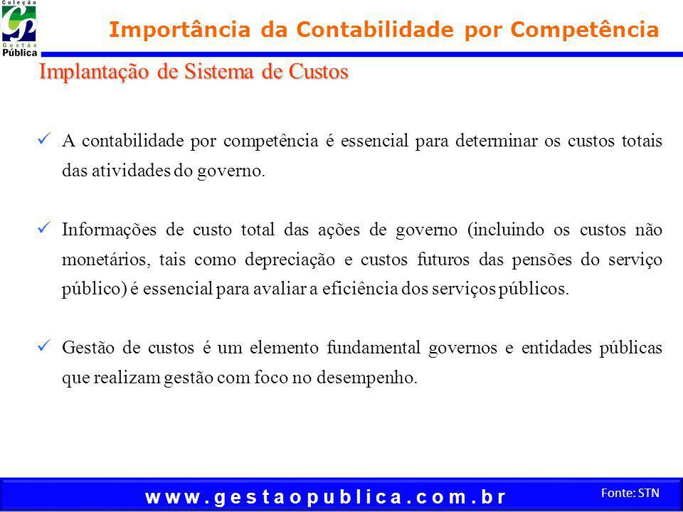 w w w. g e s t a o p u b l i c a. c o m. b r Fonte: STN Importância da Contabilidade por Competência A contabilidade por competência é essencial para