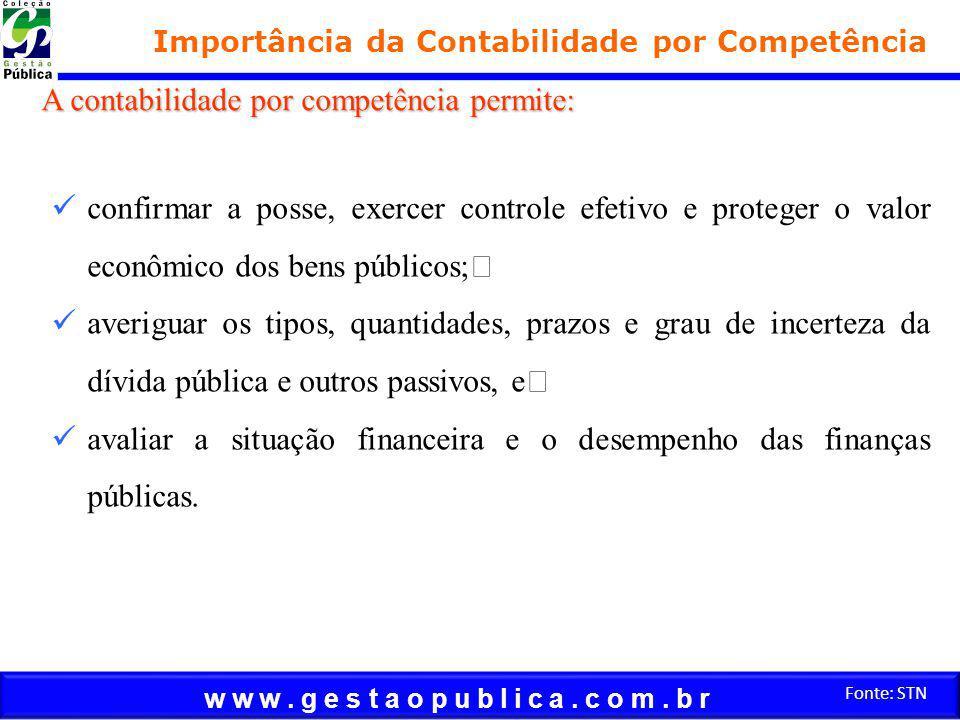 w w w. g e s t a o p u b l i c a. c o m. b r Fonte: STN Importância da Contabilidade por Competência confirmar a posse, exercer controle efetivo e pro