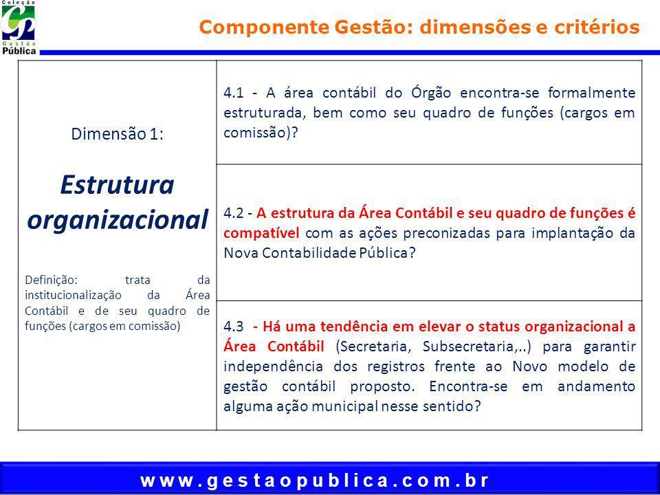 w w w. g e s t a o p u b l i c a. c o m. b r Componente Gestão: dimensões e critérios Dimensão 1: Estrutura organizacional Definição: trata da institu