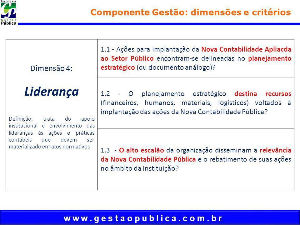 w w w. g e s t a o p u b l i c a. c o m. b r Componente Gestão: dimensões e critérios Dimensão 4: Liderança Definição: trata do apoio institucional e