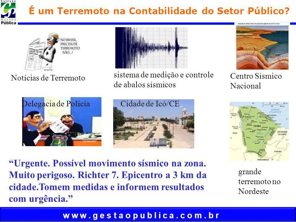 w w w. g e s t a o p u b l i c a. c o m. b r É um Terremoto na Contabilidade do Setor Público? sistema de medição e controle de abalos sísmicos Notíci