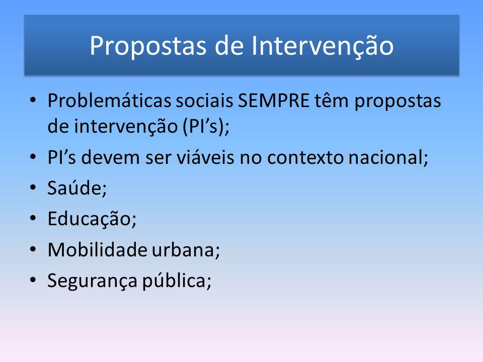 Propostas de Intervenção Problemáticas sociais SEMPRE têm propostas de intervenção (PI's); PI's devem ser viáveis no contexto nacional; Saúde; Educação; Mobilidade urbana; Segurança pública;