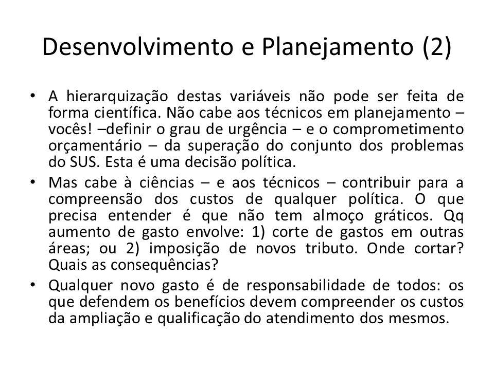 Desenvolvimento e Planejamento (2) A hierarquização destas variáveis não pode ser feita de forma científica.