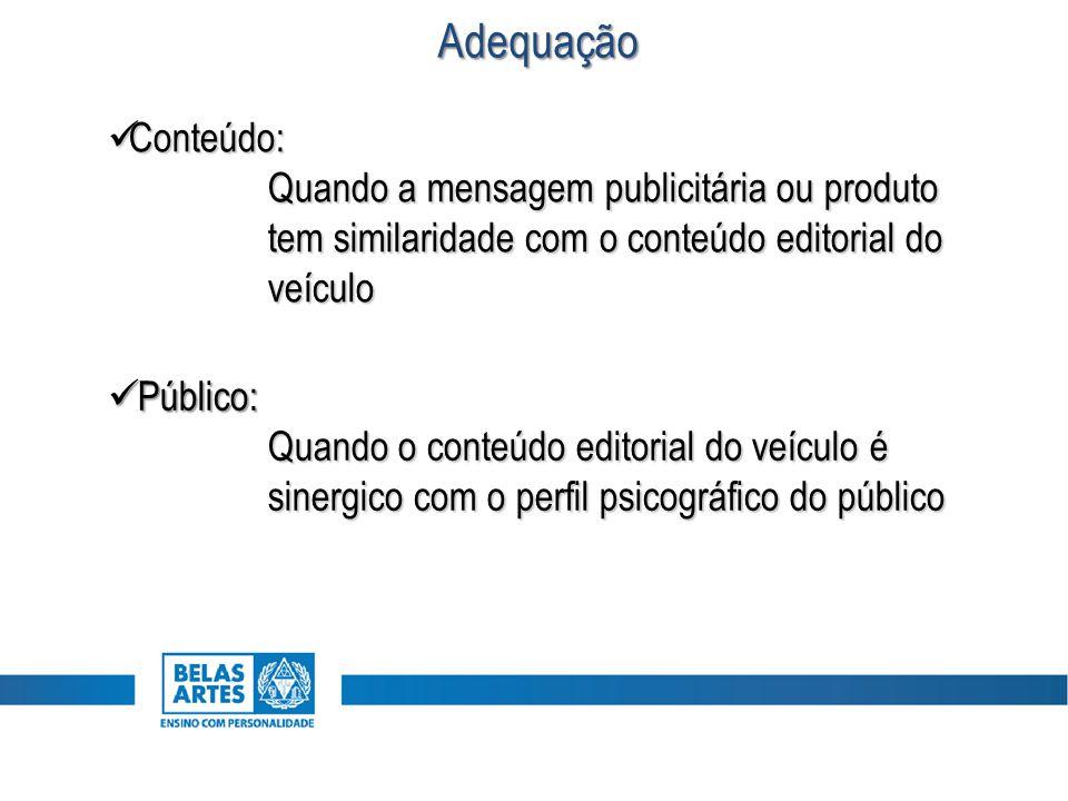 Conteúdo: Conteúdo: Quando a mensagem publicitária ou produto tem similaridade com o conteúdo editorial do veículo Público: Público: Quando o conteúdo
