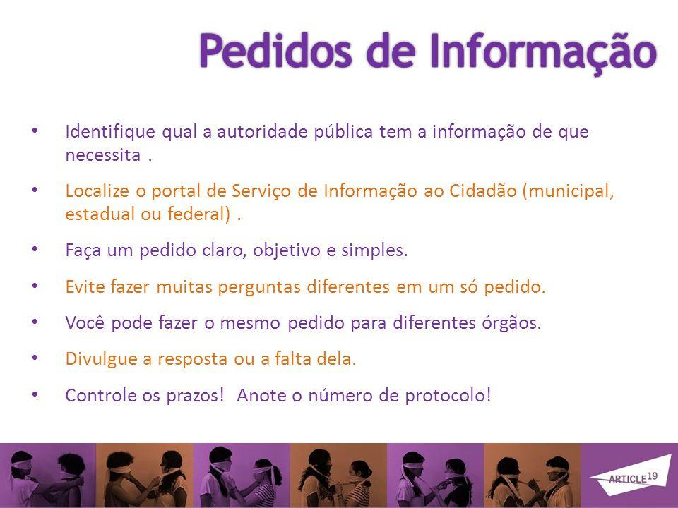 Identifique qual a autoridade pública tem a informação de que necessita.
