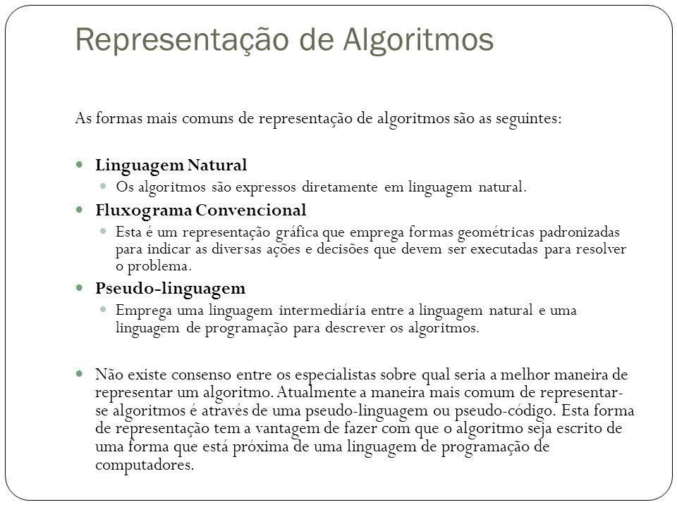 Representação de Algoritmos As formas mais comuns de representação de algoritmos são as seguintes: Linguagem Natural Os algoritmos são expressos diretamente em linguagem natural.