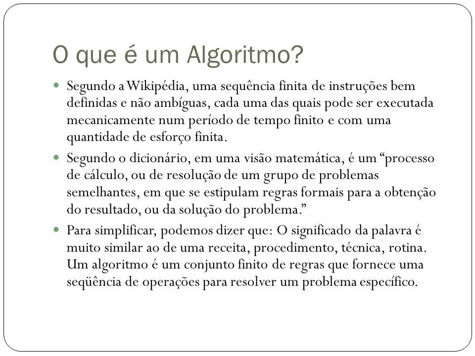 O que é um Algoritmo? Segundo a Wikipédia, uma sequência finita de instruções bem definidas e não ambíguas, cada uma das quais pode ser executada meca