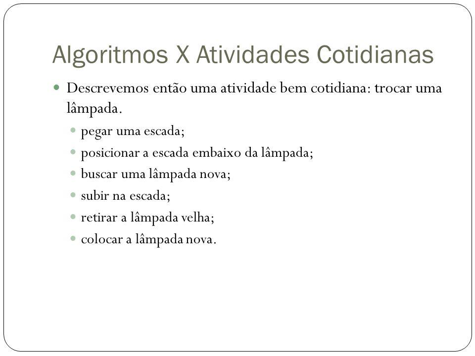 Algoritmos X Atividades Cotidianas Descrevemos então uma atividade bem cotidiana: trocar uma lâmpada.
