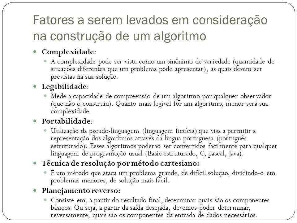 Fatores a serem levados em consideração na construção de um algoritmo Complexidade: A complexidade pode ser vista como um sinônimo de variedade (quant