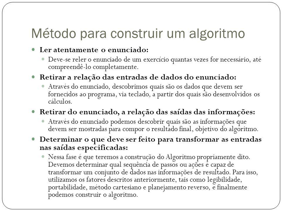 Método para construir um algoritmo Ler atentamente o enunciado: Deve-se reler o enunciado de um exercício quantas vezes for necessário, até compreendê