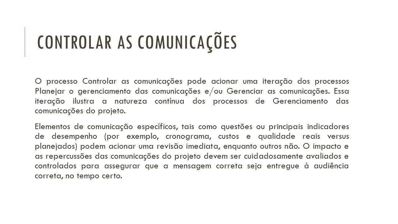 O processo Controlar as comunicações pode acionar uma iteração dos processos Planejar o gerenciamento das comunicações e/ou Gerenciar as comunicações.