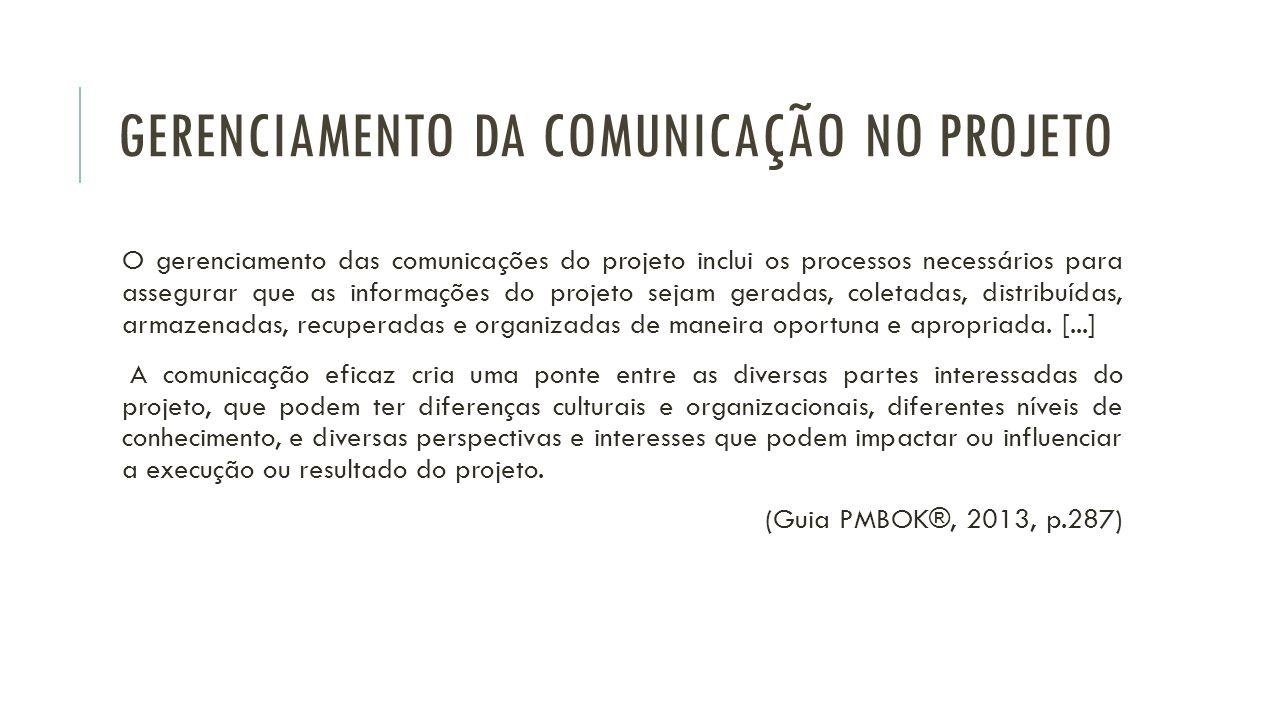 GERENCIAMENTO DA COMUNICAÇÃO NO PROJETO O gerenciamento das comunicações do projeto inclui os processos necessários para assegurar que as informações