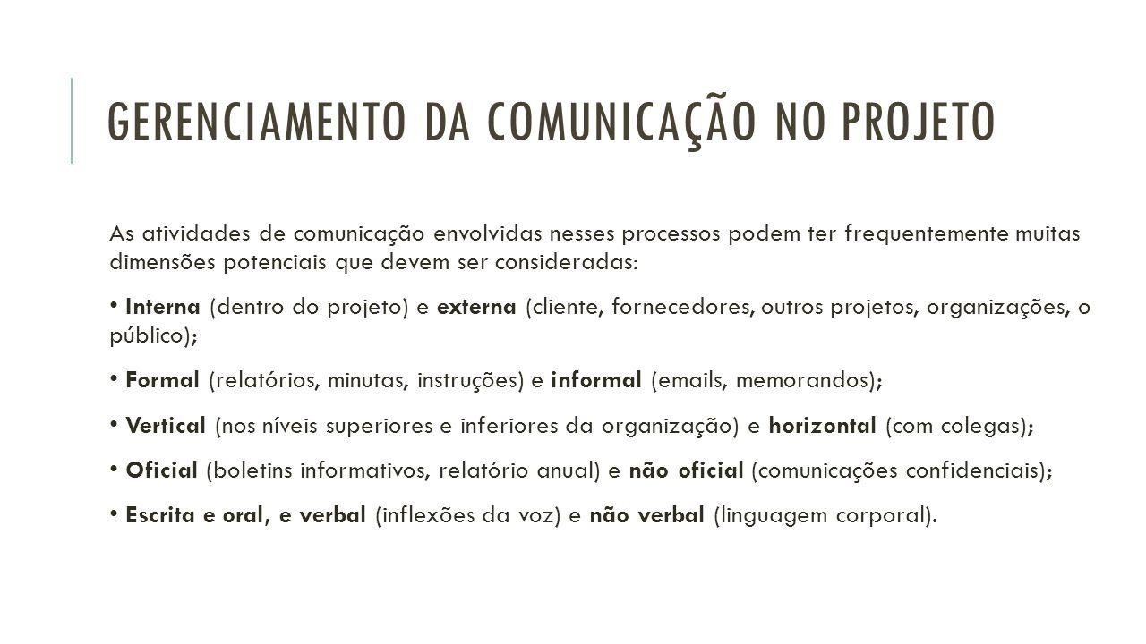 GERENCIAMENTO DA COMUNICAÇÃO NO PROJETO As atividades de comunicação envolvidas nesses processos podem ter frequentemente muitas dimensões potenciais