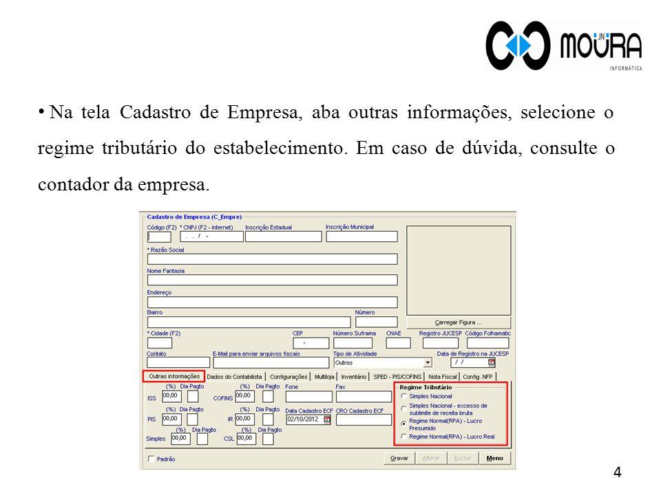 Para acessar a tela Cadastro de Produto: Módulo Compras> menu Estoque > submenu Produto> tela Cadastro de Produto.