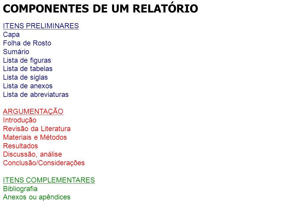 COMPONENTES DE UM RELATÓRIO ITENS PRELIMINARES Capa Folha de Rosto Sumário Lista de figuras Lista de tabelas Lista de siglas Lista de anexos Lista de