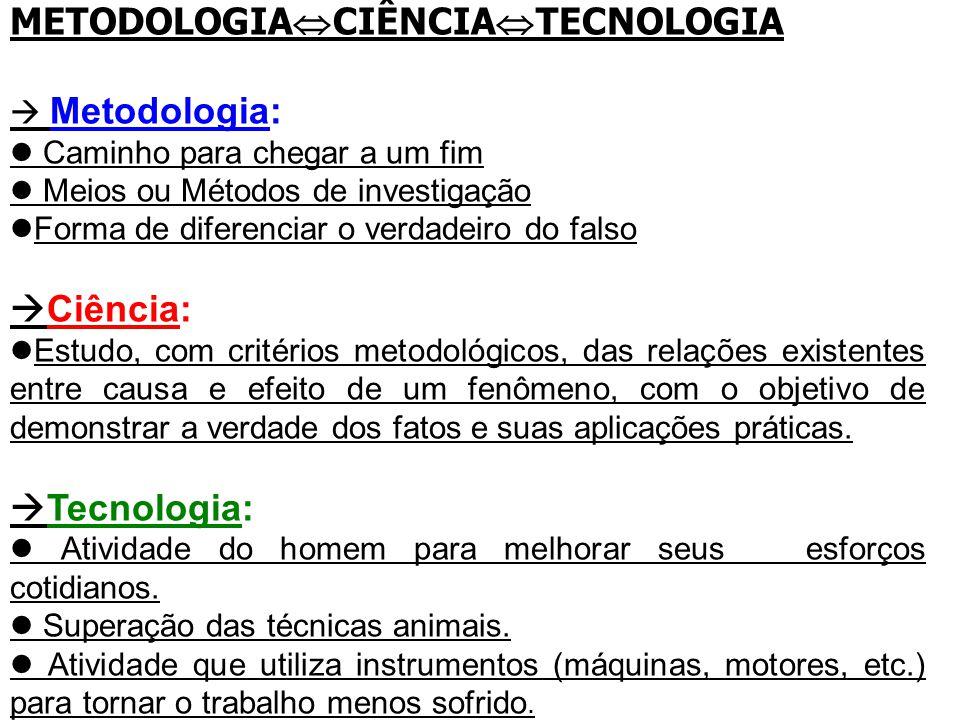 METODOLOGIA  CIÊNCIA  TECNOLOGIA  Metodologia: Caminho para chegar a um fim Meios ou Métodos de investigação Forma de diferenciar o verdadeiro do f