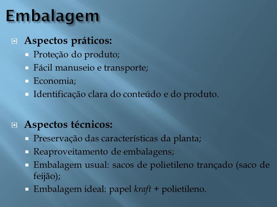  Aspectos práticos:  Proteção do produto;  Fácil manuseio e transporte;  Economia;  Identificação clara do conteúdo e do produto.