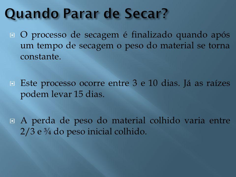  O processo de secagem é finalizado quando após um tempo de secagem o peso do material se torna constante.