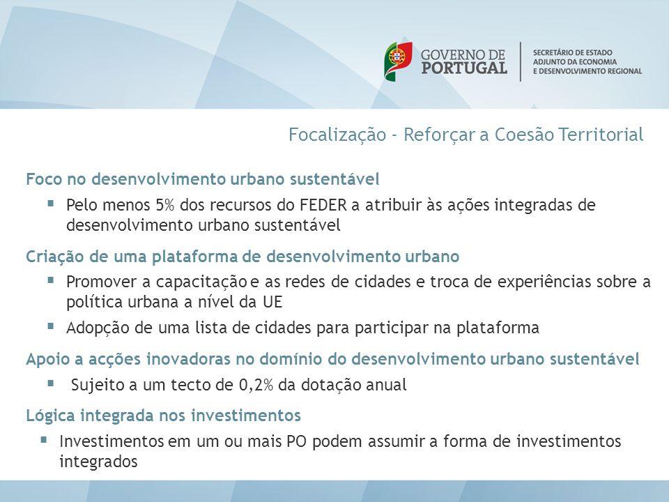 Focalização - Reforçar a Coesão Territorial Foco no desenvolvimento urbano sustentável  Pelo menos 5% dos recursos do FEDER a atribuir às ações integ