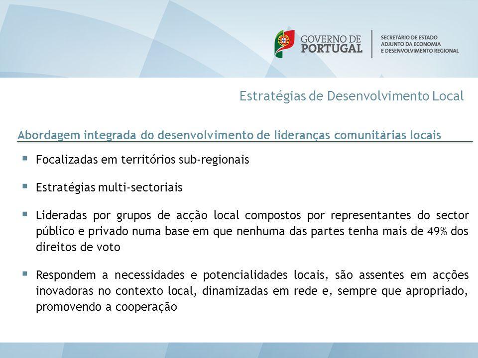 Estratégias de Desenvolvimento Local Abordagem integrada do desenvolvimento de lideranças comunitárias locais  Focalizadas em territórios sub-regiona