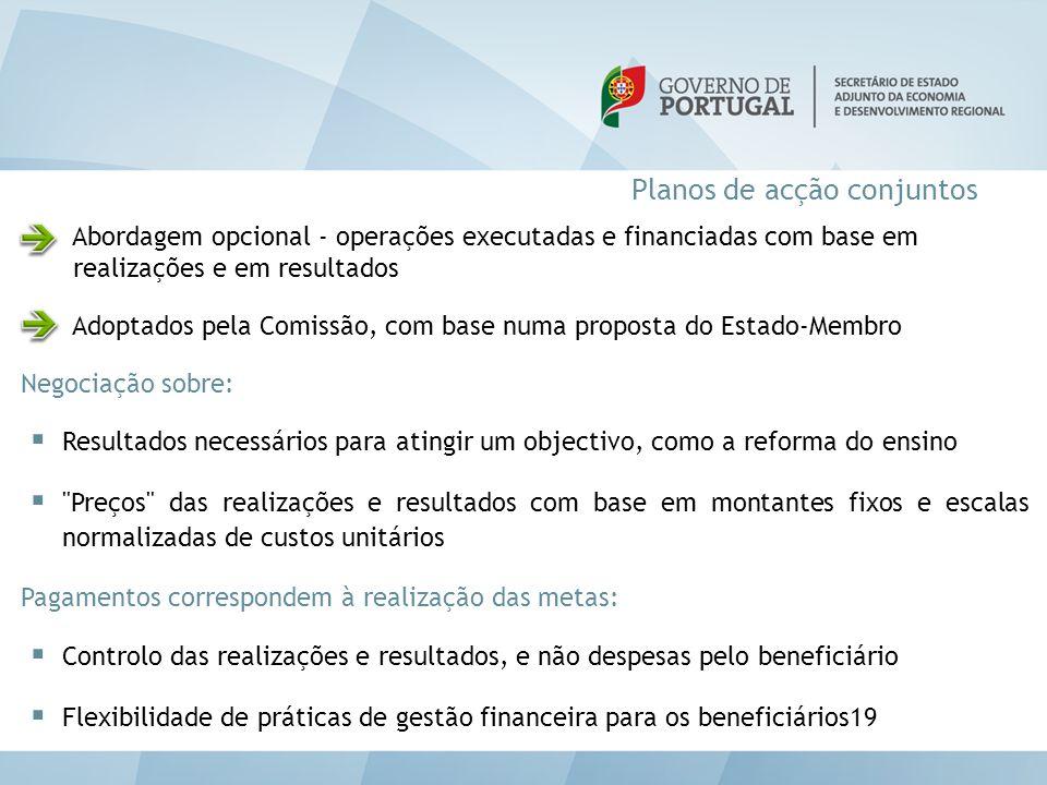 Planos de acção conjuntos Abordagem opcional - operações executadas e financiadas com base em realizações e em resultados Adoptados pela Comissão, com
