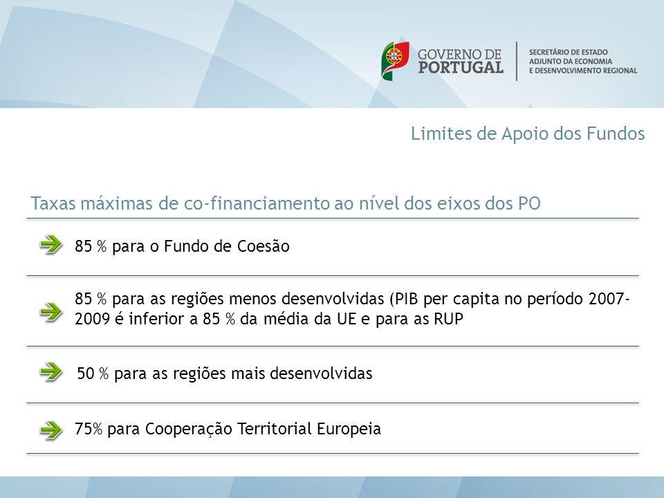 Limites de Apoio dos Fundos 75% para Cooperação Territorial Europeia Taxas máximas de co-financiamento ao nível dos eixos dos PO 85 % para o Fundo de