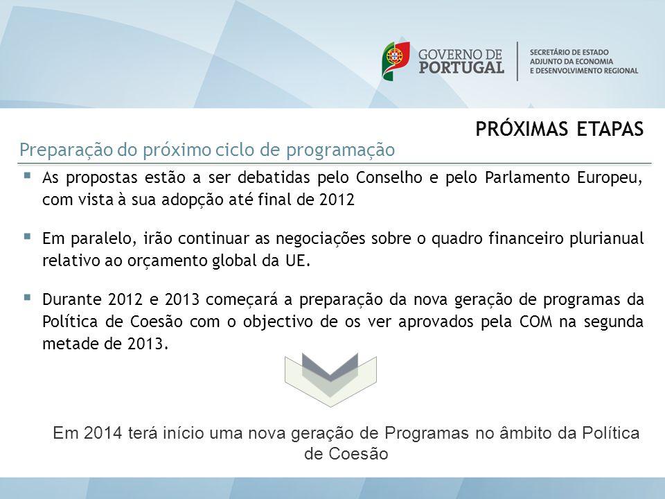 PRÓXIMAS ETAPAS  As propostas estão a ser debatidas pelo Conselho e pelo Parlamento Europeu, com vista à sua adopção até final de 2012  Em paralelo,