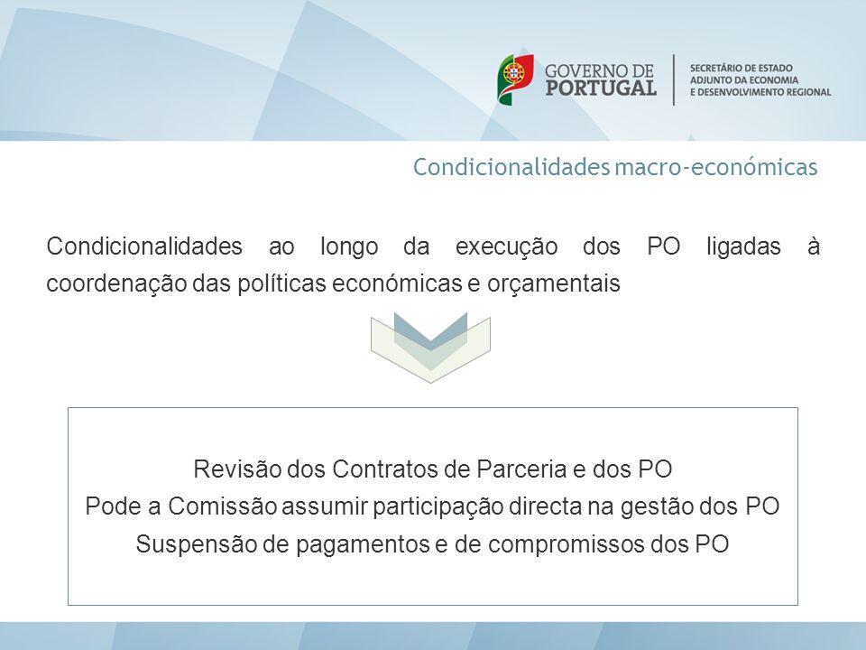 Condicionalidades macro-económicas Condicionalidades ao longo da execução dos PO ligadas à coordenação das políticas económicas e orçamentais Revisão